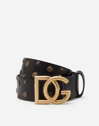 Dolce & Gabbana Leather Belt With Crossed Logo And Mixed Stud Embroidery