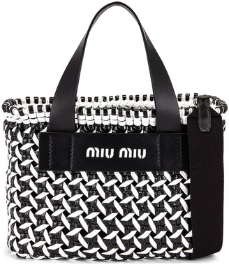 Miu Miu Straw Shoulder Bag in Black & White | FWRD