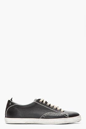 Diesel Black Leather Under Pressure Studded Sneakers