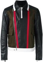 DSQUARED2 stripe accent biker jacket - men - Cotton/Calf Leather/Polyester/Polyurethane - 46