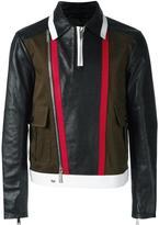 DSQUARED2 stripe accent biker jacket