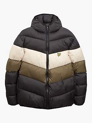 Lyle & Scott Colour Block Puffa Jacket, True Black/Olive