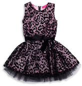 Betsey Johnson Girls 2-6x Leopard Mesh Overlay Dress