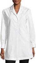Joan Vass Side-Buttons Bracelet-Sleeve Shirt, White