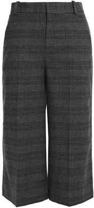 Maje Cropped Prince Of Wales Checked Woven Wide-leg Pants