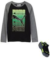 Puma Long Sleeve Raglan Tee & Low Cut Socks Set (Big Boys)