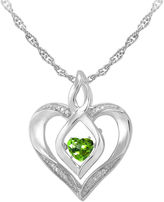 JCPenney FINE JEWELRY Love in Motion Genuine Peridot and Diamond-Accent Heart Pendant Necklace