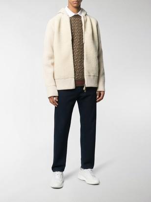 Burberry Rib-Knit Zipped Hoodie