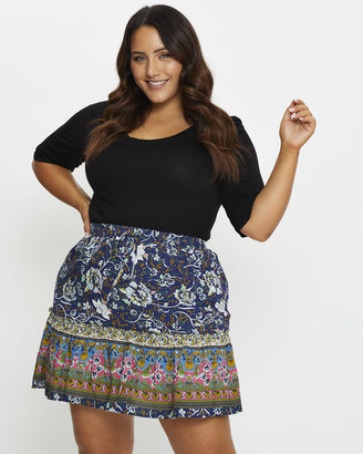 You & All - Women's Blue Pleated skirts - Plus Floral Print Skater Skirt - Size One Size, 16 at The Iconic