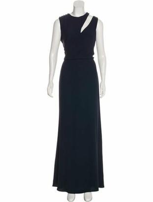 Alexander McQueen Cold-Shoulder Evening Dress Blue