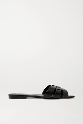 Saint Laurent Nu Pieds Woven Leather Slides - Black