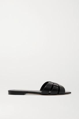 Saint Laurent Nu Pieds Woven Leather Slides - Black