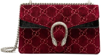 Gucci red Dionysus GG velvet small shoulder bag
