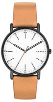 Skagen Round Stainless Steel and Leather Strap Watch