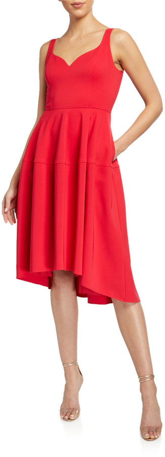 Aidan Mattox Sweetheart High-Low Crepe Dress