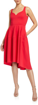 Aidan Mattox Sweetheart High-Low Crepe Dress