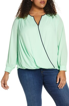 Vince Camuto Wrap Front Long Sleeve Georgette Blouse