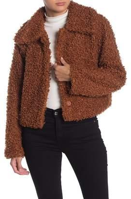 Wild Honey Faux Shearling Snap Button Coat