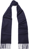 Johnstons of Elgin Fringed Cashmere Scarf - Navy