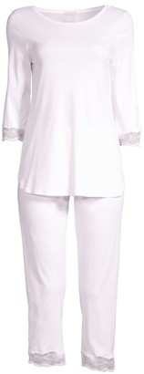 Hanro Valencia Three-Quarter Cropped Pajamas