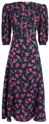 Alessandra Rich Silk Floral Midi Dress