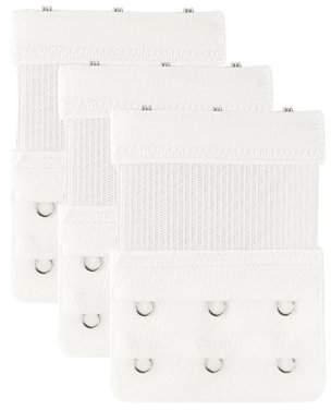 Unique Bargains Ladies White Bra Extenders Strap Extension 3-hook, 3-pack