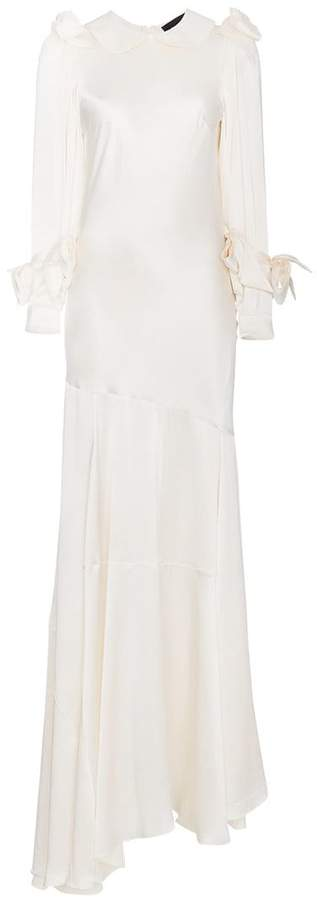 Simone Rocha bow long sleeve silk bias dress