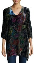Johnny Was Tappa Floral-Print Velvet Tunic