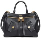 Moschino Grainy B Leather Satchel - Black