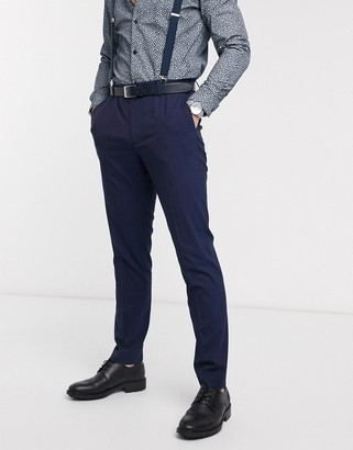 ASOS DESIGN wedding skinny suit pants in blue and purple tonic