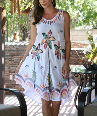 Ananda's Collection Women's Casual Dresses white - White Hand-Painted Sleeveless Dress - Women