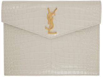Saint Laurent Off-White Croc Small Uptown Envelope Pouch