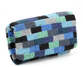 Moyna Colorblock Beaded Fold-Over Clutch Bag, Blue