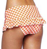 Arizona Orange Gingham Retro Ruffle Swim Skirt