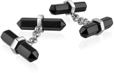 A-Z Collection Double Sided Black Resin Silver Plated Cufflinks