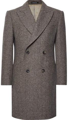Richard James Slim-Fit Double-Breasted Herringbone Wool Coat