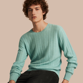 Burberry Aran Knit Cashmere Sweater , Size: Xxl, Blue