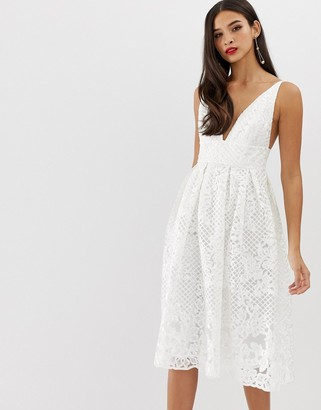 Asos Design DESIGN prom midi dress with plunge neck in corded lace-White