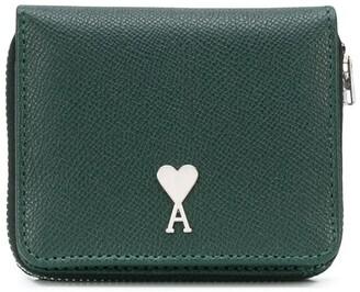 AMI Paris Zip-Around Leather Wallet