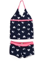 Osh Kosh Navy & Pink Heart Tankini - Toddler & Girls