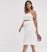 In The Style Plus knitted ribbed midi skirt in white