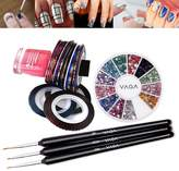 High Quality Professional Nail Art Set Kit of Premium Manicure 12 Colours Gemstones Rhinestones Crystals Wheel, Striping Tapes Line Decorations Strips And Fine Detail Wooden Brushes By VAGA®