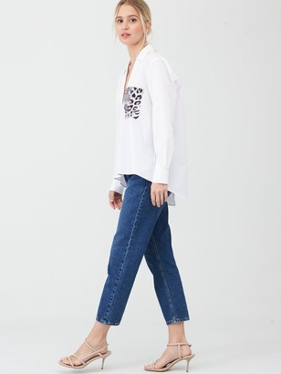 River Island Snake Pocket Long Sleeve Shirt - White