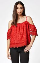 La Hearts Lace Cold Shoulder Top
