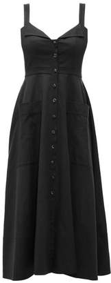 Saloni Fara Cotton-blend Midi Dress - Womens - Black