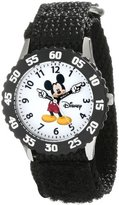 Disney Kids' W000227 Mickey Mouse Stainless Steel Time Teacher Watch with Black Nylon Band