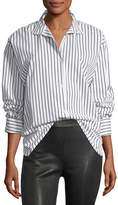frame-clean-collared-button-front-striped-cotton-oversized-shirt