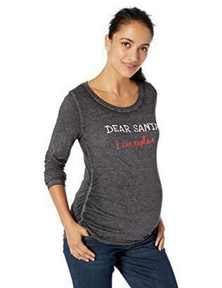 Motherhood Maternity Women's Maternity Long Sleeve Crew Neck Side Ruche Holiday Graphic Tee Shirt