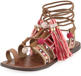 Sam Edelman Gretchen Embroidered Flat Sandal, Light Brown