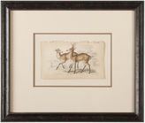 Rejuvenation Hand-Colored Deer Pair Etching c1875